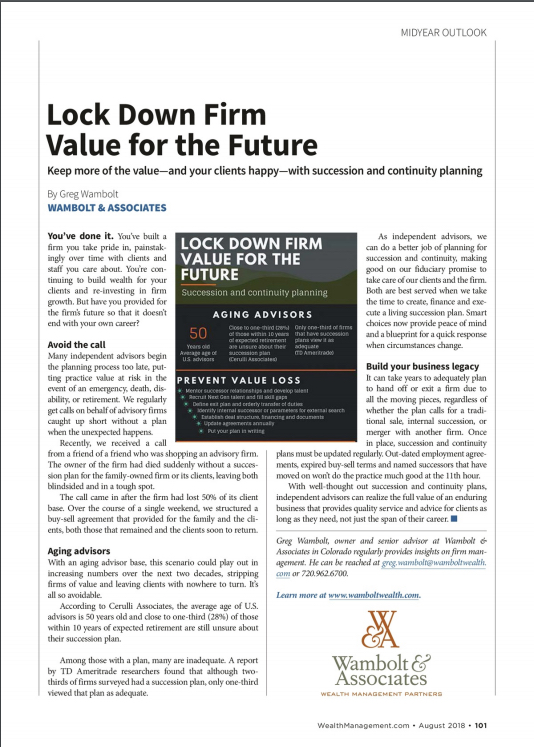 Lock Down Firm Value for the Future